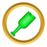Broken green bottle as weapon vector icon Royalty Free Stock Photo