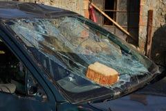 Broken green car Stock Photos