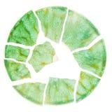 Broken green ceramic plate Stock Photo