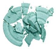 Broken green eye shadow. Isolated on white macro Royalty Free Stock Image
