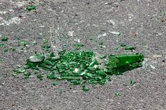 Broken Green Glass car window ground royalty free stock image