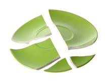 Broken green plate Stock Photo
