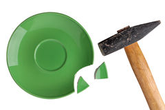 Broken green plate Royalty Free Stock Images