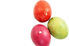 Broken green, red  and pink easter eggs Stock Image