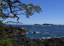 Broken Group Islands Barkley Sound. View from Amphitrite Point towards the Barkley Sound and the archipelago of the Broken Group Islands, Ucluelet Vancouver royalty free stock images