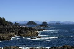 Broken Group Islands Barkley Sound. View from Amphitrite Point towards the Barkley Sound and the archipelago of the Broken Group Islands, Ucluelet Vancouver royalty free stock photography