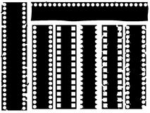 Broken grunge filmstrip. Set of broken grunge filmstrip illustrated on white Royalty Free Stock Photos