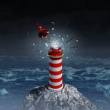 Broken Guidance. And direction uncertainty with a broken shattered lantern beacon from a lighthouse as a metaphor for losing control resulting in misdirection vector illustration