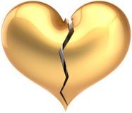 broken guld- hjärtaform Arkivfoto