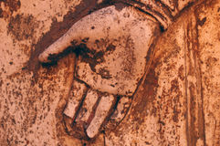 Broken hand. Old roman sculpture with broken hand stock photography