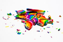 Broken Hard Candy Pieces. Broken pieces of a brightly colored Lollipop on white background Stock Photography