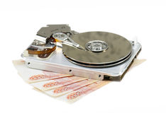 Broken hard disk. And russian money as price for recovery stock photo