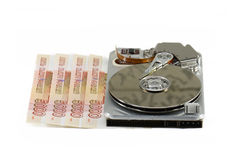 Broken hard disk. And russian money as price for recovery royalty free stock photos
