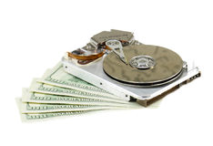 Broken hard disk. And 500 dollars as price for recovery royalty free stock photography