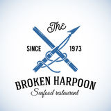 Broken Harpoon Seafood Restaurant Abstract Vector Stock Image