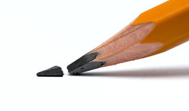 Broken head of sharp pencil Royalty Free Stock Images