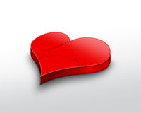 Broken heart. Beautiful red 3d Broken heart Stock Images
