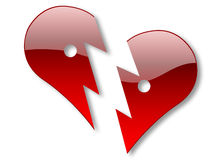 Broken heart. Two halves of glossy heart illustration isolated over white background Vector Illustration