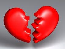 Broken heart. It's a big red broken heart stock illustration