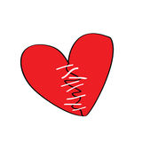 Broken heart. With stitches, more similar images in my profile Stock Photography