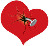 Broken heart. Illustration of heart attached by nail(vector available stock illustration