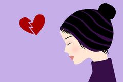 Broken heart. Illustration of a crying girl with broken heart Royalty Free Stock Images