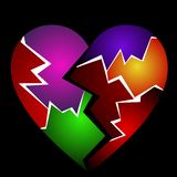 Broken heart. Colorful broken heart illustration isolated on black background Stock Photography