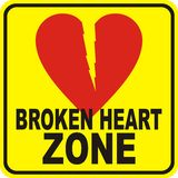 Broken heart. Zone sign for single Royalty Free Stock Images
