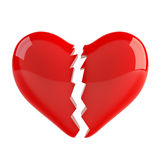 Broken heart. 3d render of red broken heart om white background Royalty Free Stock Photos