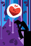 The Broken Heart. Image of a man who is sad and depress from broken heart and rejection Royalty Free Stock Photo