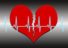 Broken heart. Illustration of a broken heart with a cardio line on a grey gradient background. Available as EPS-File Royalty Free Stock Photo