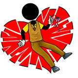 Broken heart. Silhouette man with a broken heart Royalty Free Stock Images