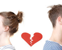 Broken heart. And a couple who just split up royalty free stock photos