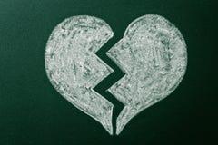 Broken heart. On green blackboard royalty free stock photo