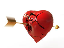 A broken heart. Heart pierced by an arrow, shatters into pieces Royalty Free Stock Images