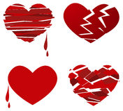 Broken heart. Suffering red broken heart set Stock Photos