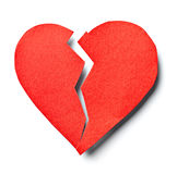 Broken heart. Close up of  a paper broken heart on white background with clipping path Royalty Free Stock Photo