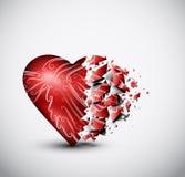 Broken heart. Broken glass heart. Eps 10 Stock Images