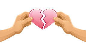 Broken heart. In human hands on a white background Stock Images