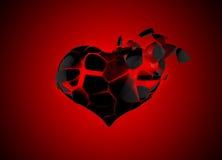 Broken heart. The red broken heart on black stock images