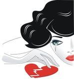 Broken heart. Retro girl crying over a broken heart Stock Photography