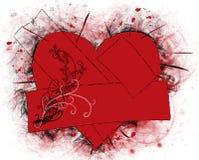 Broken heart. Red - black broken heart with plasters Royalty Free Stock Image