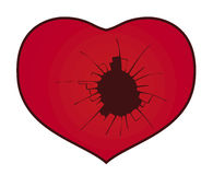 Broken heart. With a hole Stock Illustration