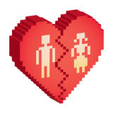 Broken heart 3d. Pixels - illustration Stock Photo