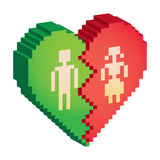 Broken heart 3d pixels. Illustration Royalty Free Stock Photo