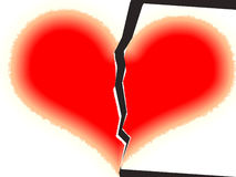 The broken heart. The broken red heart.Unfortunate love. Without reciprocity Stock Photography