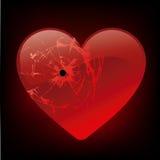 Broken heart. Concept, broken (shot) red heart Stock Photos