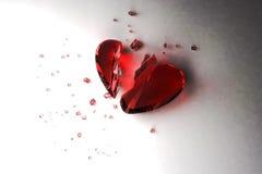 Broken heart. Red glass broken heart on white background stock illustration