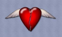 Broken Heart. A broken winged heart Royalty Free Illustration