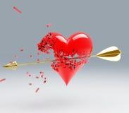 Broken Heart. A 3d Heart broken by a gold arrow stock illustration